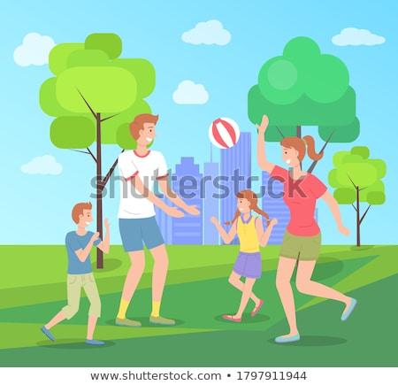 Family spending time in summer park playing with ball, leisure, kid and mom have fun, recreation Stock photo © robuart