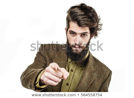 Serious young man shows finger Stock photo © Paha_L