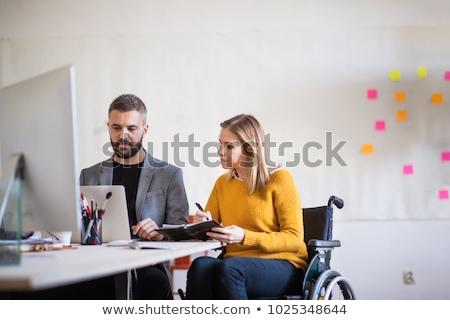 человека · коляске · ноутбука · служба · фон - Сток-фото © photography33