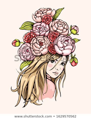 woman with long hair and red carnations Stock photo © imarin