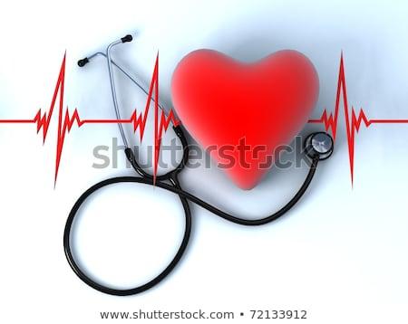 Stethoscoop hart witte geïsoleerd 3D afbeelding Stockfoto © ISerg