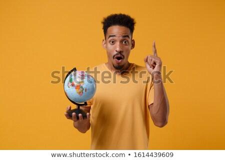 Fiú tart földgömb kéz természet utazás Stock fotó © photography33