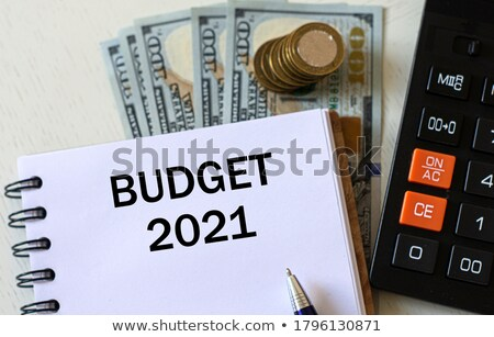 budget · woorden · amerikaanse · bankbiljetten · calculator · witte - stockfoto © Ansonstock