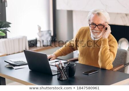 ビジネスマン · 見える · ノートパソコン · 画面 · 小さな · 作業 - ストックフォト © photography33