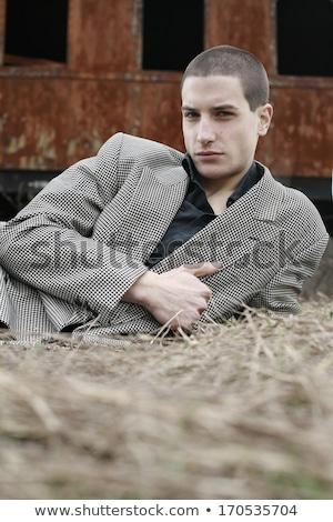 Otono invierno hombre retrato dorado campo de hierba Foto stock © lunamarina