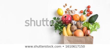 Foto stock: Establecer · verde · frutas · hortalizas · aislado · blanco