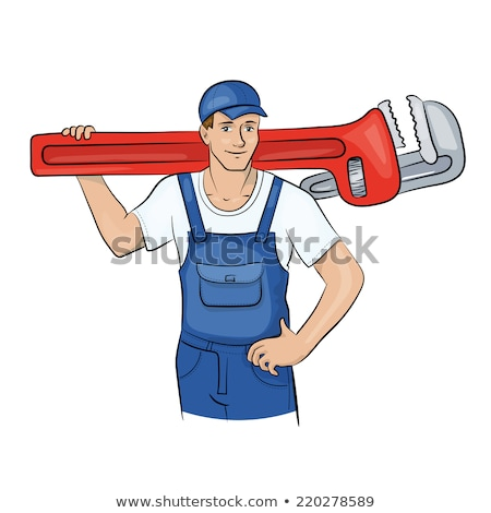 Smiling laborer installing piping Stock photo © photography33