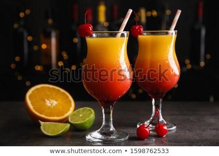 Tequila amanecer negro cóctel frutas decoración Foto stock © ildi