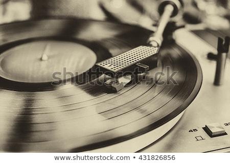eski · plâkçalar · beyaz · Retro · görüntü · müzik - stok fotoğraf © stoonn