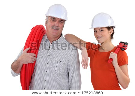 senior craftsman and young craftswoman posing together Stock photo © photography33