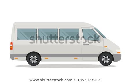 Minibus zijaanzicht witte wiel vracht vector Stockfoto © fixer00