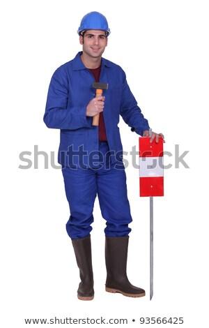 建設作業員 立って 交通標識 建設 青 トラフィック ストックフォト © photography33