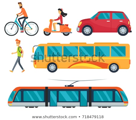 Man on a moped with a bus in the background Stock photo © photography33