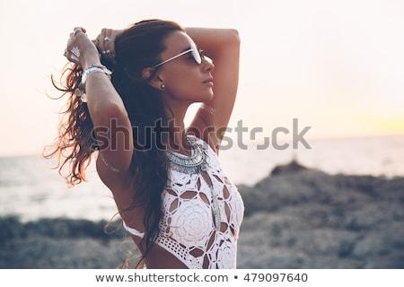 Dziewczyna bikini fryzura moda shot sexy Zdjęcia stock © carlodapino