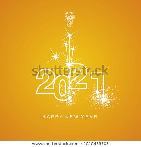Сток-фото: с · Новым · годом · фейерверк · шампанского · стекла · силуэта · eps10