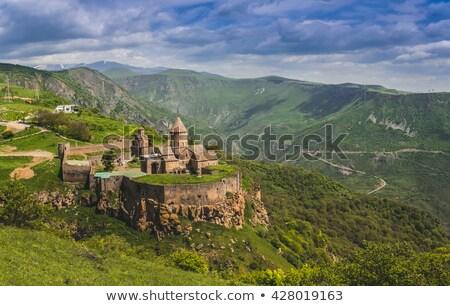 Kolostor Örményország felhők fal tájkép hegy Stock fotó © ruzanna