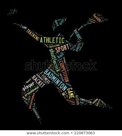 badminton player pictogram with colorful words Stock photo © seiksoon