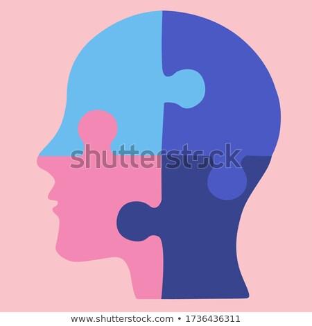 Menselijke verstand puzzel Blauw doolhof Stockfoto © Lightsource