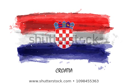Absztrakt Horvátország zászló kék íj piros Stock fotó © maxmitzu