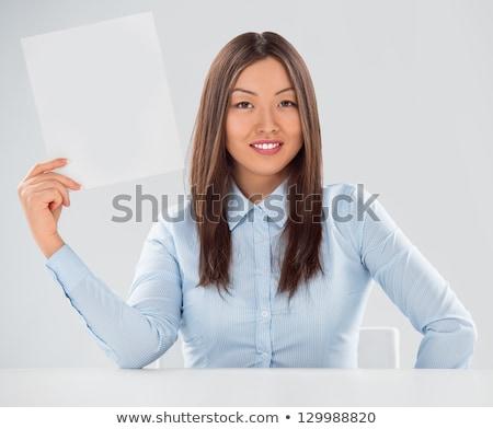 donna · seduta · cartellone · segno · cute - foto d'archivio © hasloo
