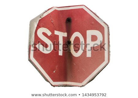 old rusty road sign give way traffic isolated on white backgroun Stock photo © inxti