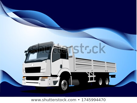 Blue wave background with lorry image. Vector illustration Stock photo © leonido