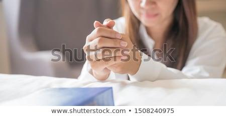 Foto stock: Mulher · jovem · oração · mãos · juntos · branco · amor