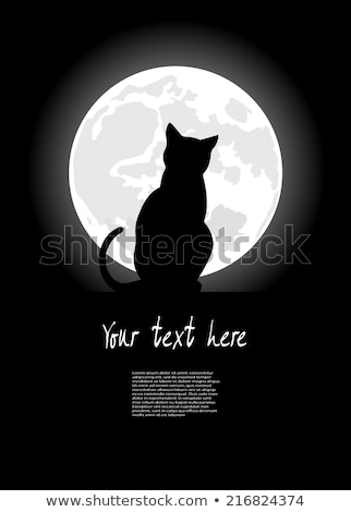 vector cat sitting on roof stock photo © elisanth