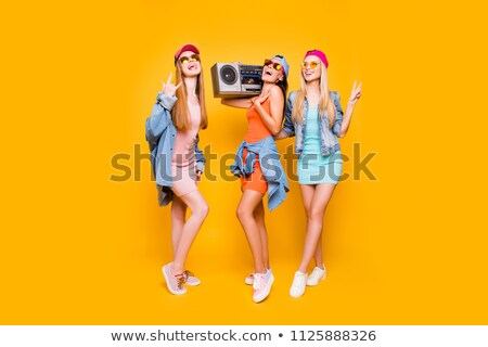 portrait of happy woman with stereo glasses stock photo © hasloo