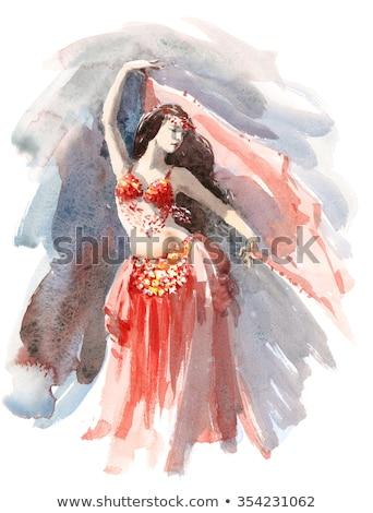Jóvenes hermosa vientre bailarín oro traje Foto stock © stepstock