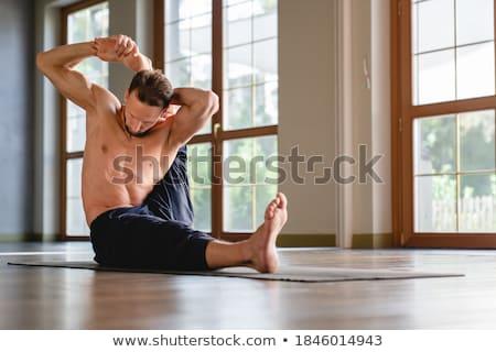 topless · homem · para · baixo · calças · moço - foto stock © feedough