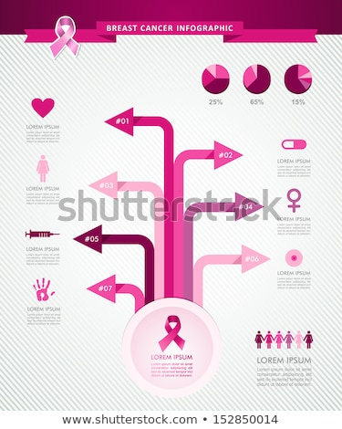 cancer · du · sein · conscience · ruban · infographie · modèle · eps10 - photo stock © cienpies