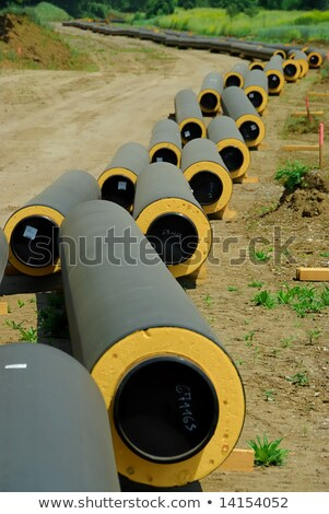 construction site with community heating system pipes Stock photo © goce