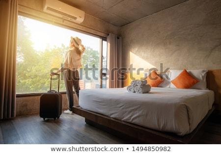 за · девушки · отель · здании · свет · модель - Сток-фото © ssuaphoto