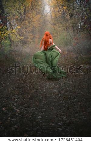 Piros boszorkány szexi fehér vörös haj tart Stock fotó © oksanika