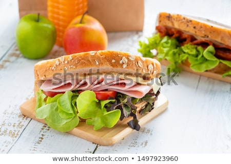 Friss teljeskiőrlésű sajt sonka szendvics narancslé Stock fotó © raphotos