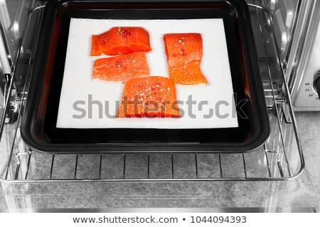 wild salmon coated with sea salt and peppercorn stock photo © tab62