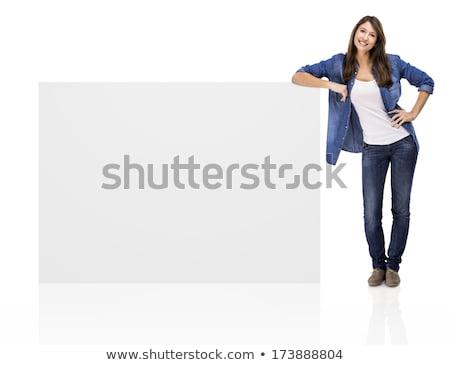 jóvenes · mujer · de · negocios · signo · hermosa · mujer · de · negocios - foto stock © milsiart