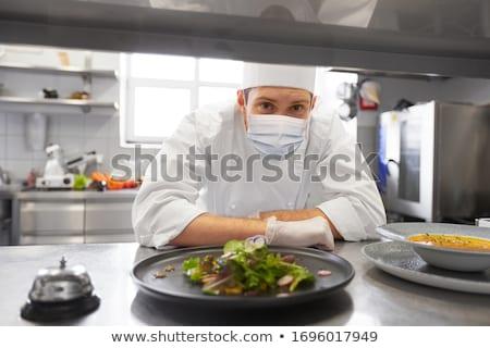Kuchnia kulinarny Sałatka żywności obiedzie mięsa Zdjęcia stock © M-studio