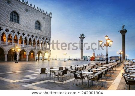Gondolas in Vernice with San Giorgio di Maggiore church Stock photo © Hofmeester