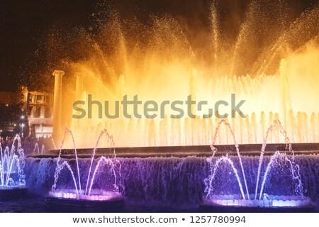 mágikus · szökőkút · fény · előadás · Barcelona · citromsárga - stock fotó © nejron