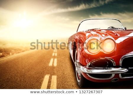 Kırmızı spor araba kız örnek seksi ayakta Stok fotoğraf © lenm