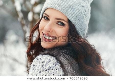 портрет · красивая · женщина · белый · мех · Cap · лице - Сток-фото © amok
