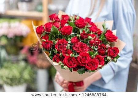 nagy · piros · rózsa · virág · egyezség · kép · fekete - stock fotó © es75