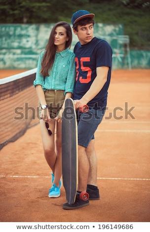 bella · giovane · ragazza · piedi · campo · da · tennis · outdoor · ragazza - foto d'archivio © vlad_star