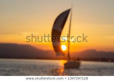 ヨット 夕暮れ セーリング ピンク 紫色 日没 ストックフォト © silkenphotography