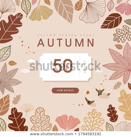 deux · vintage · saisonnier · automne · bannières · papier - photo stock © carodi