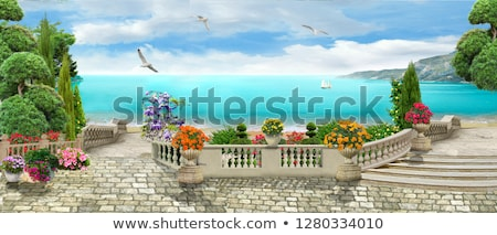 terrace with sea view stock photo © simply