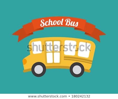 Rajz aranyos iskolabusz klasszikus stílus autó Stock fotó © kali