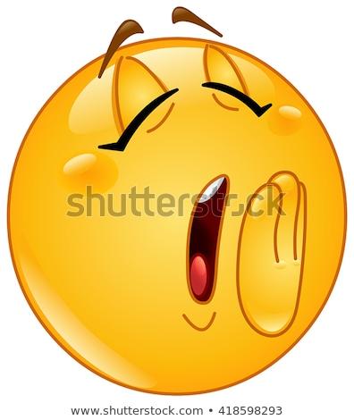 Emoticon cansado amarelo branco preto gráfico Foto stock © mariephoto